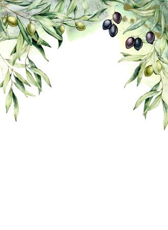 Akwarela karta z gałązkami oliwnymi, zielonymi i czarnymi jagodami. Ręcznie malowane obramowanie z oliwkami, liście na białym tle. Kwiatowy ilustracja botaniczna do projektowania, drukowania.