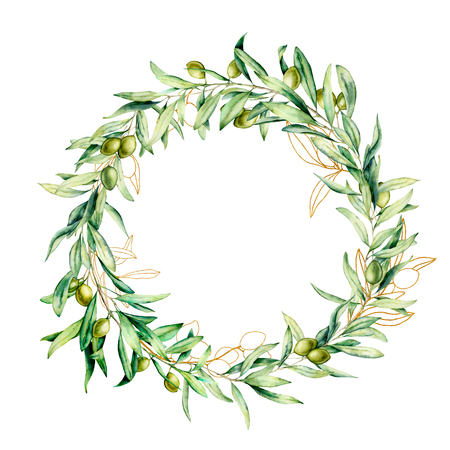 Watercolor wreath with green and golden olive berries. Hand painted floral border with olive fruit and tree branches with leaves isolated on white background. For design, print and fabric. Standard-Bild - 121767307