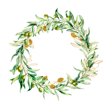 Watercolor wreath with golden and green olive berries. Hand painted floral border with olive fruit and tree branches with leaves isolated on white background. For design, print and fabric.