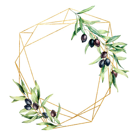 Watercolor polygonal golden frame with olive tree branch, black olives and leaves. Hand drawn floral label isolated on white background. Botanical illustration. Greeting template for design.