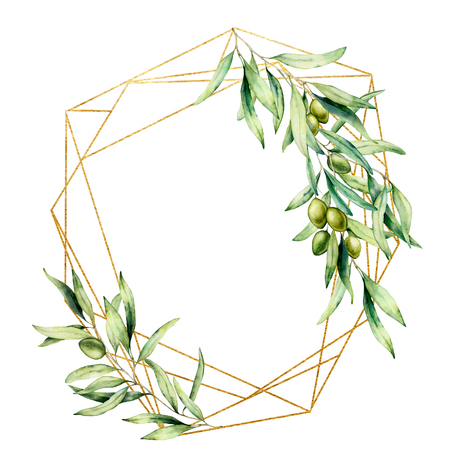 Watercolor polygonal golden frame with olive tree branch, green olives and leaves. Hand drawn floral label isolated on white background. Botanical illustration. Greeting template for design. Banque d'images