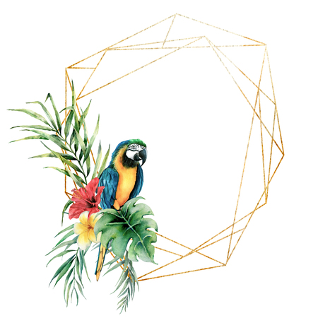 Watercolor polygonal gold frame with parrot and bouquet with flowers. Hand drawn plumeria and hibiscus. Floral label isolated on white background. Botanical illustration. Greeting template for design.