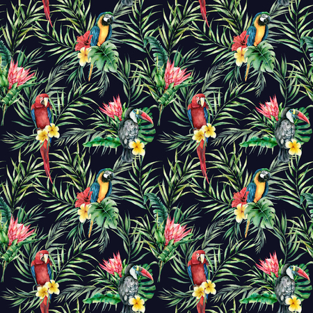 Watercolor toucan and parrot seamless pattern. Hand painted illustration with bird, protea and palm leaves isolated on black background. Wildlife illustration for design, print, fabric, background.