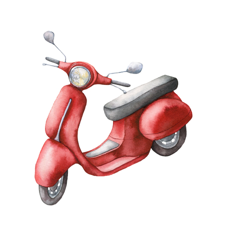 Watercolor card with red scooter. Hand painted summer illustration isolated on white background. For design, prints or background.