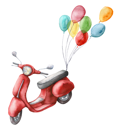 Watercolor card with red scooter and air balloons. Hand painted summer illustration isolated on white background. For design, prints or background.