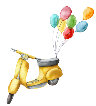 Watercolor card with yellow scooter and air balloons. Hand painted summer illustration isolated on white background. For design, prints or background.