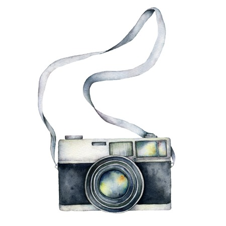 Watercolor camera card. Hand painted photographic equipment illustration isolated on white background. For design, prints or background. Stock Photo