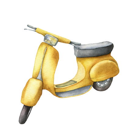 Watercolor card with yellow scooter. Hand painted summer illustration isolated on white background. For design, prints or background.