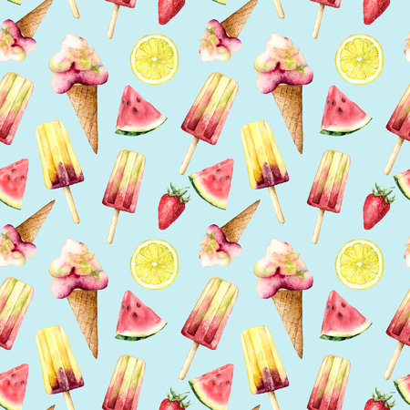 Watercolor seamless pattern with fruit and ice cream. Hand painted illustration watermelon, lemon and strawberry isolated on blue background. Food illustration for design, print, fabric, background. Imagens