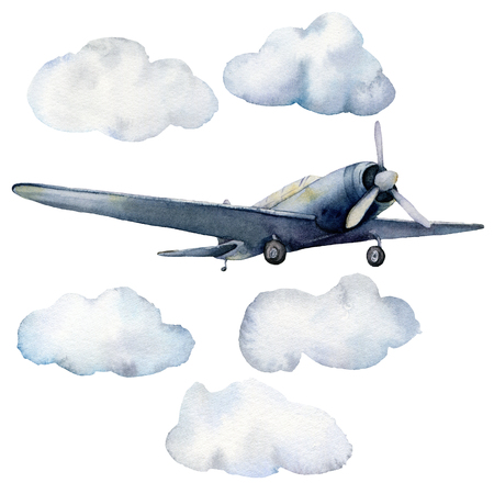 Watercolor set with airplane and clouds. Hand painted sky illustration with aircraft isolated on white background. For design, prints, fabric or background. Stock Photo