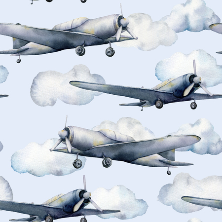 Watercolor seamless pattern with airplane and clouds. Hand painted sky illustration with propeller plane isolated on pastel blue background. For design, prints, fabric or background.