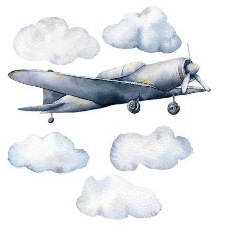 Acquerello con nuvole e aeroplano. Illustrazione del cielo dipinta a mano con aerei isolati su sfondo bianco. Per design, stampe, tessuto o sfondo.