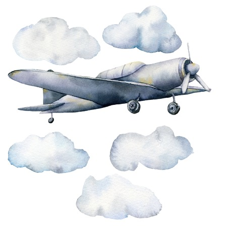 Watercolor set with clouds and airplane. Hand painted sky illustration with aircraft isolated on white background. For design, prints, fabric or background.