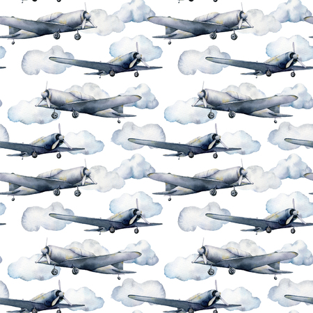 Watercolor seamless pattern with clouds and airplane. Hand painted sky illustration with propeller plane isolated on white background. For design, prints, fabric or background. 스톡 콘텐츠