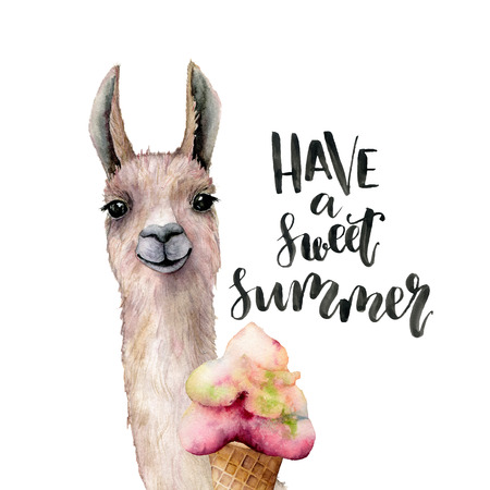 Watercolor Have a sweet summer card with lama. Hand painted beautiful illustration with llama animal, ice cream and lettering isolated on white background. For design, print, fabric or background. Stock Photo