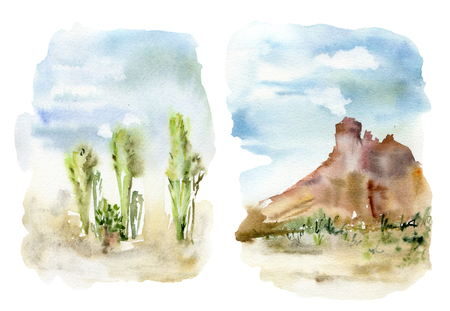 Watercolor mexican landscapes set. Hand painted card with desert cactus, sky, clouds and mountain. Botanical illustration isolated on white background for design, print, fabric or background.