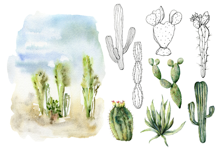 Watercolor and sketch desert landscapes set. Hand painted constructor with mexican cactus, agava, sky and clouds. Botanical illustration isolated on white background for design, print, fabric.