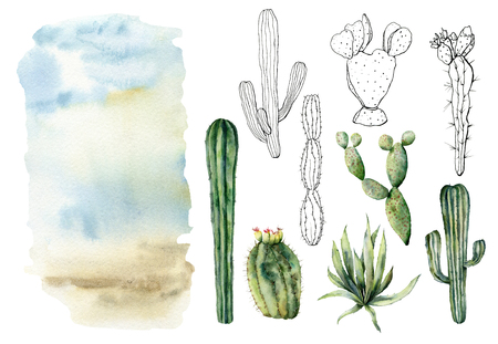 Watercolor and sketch set with desert landscapes. Hand painted constructor with mexican cactus, agava, sky and clouds. Botanical illustration isolated on white background for design, print, fabric.