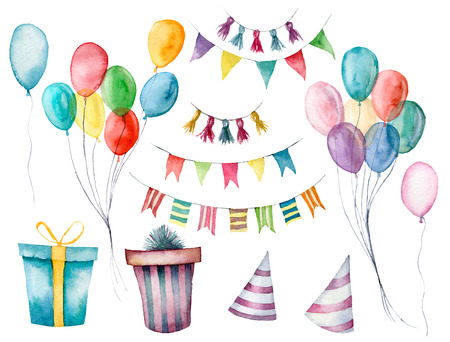 Watercolor set with gift boxes, garland and air balloon. Hand painted box with bow isolated on white background. Greeting ornament for design or background. Party print. Birthday background. Stock Photo