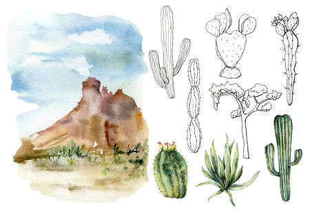 Watercolor and sketch mexican landscapes set. Hand painted constructor with desert cacti, agava, sky and mountain. Botanical illustration isolated on white background for design, print, fabric.