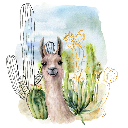 Watercolor and sketch desert landscapes card with lama. Hand painted golden and black mexican cactus, sky and clouds. Botanical illustration isolated on white background for design, print, fabric.