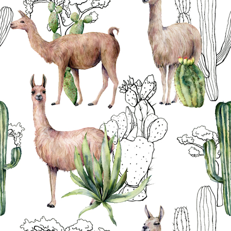 Watercolor seamless pattern with llama and desert cacti. Hand painted botanical illustration with lama animal and plants on blue background. For design, print, fabric or background. Stock Photo