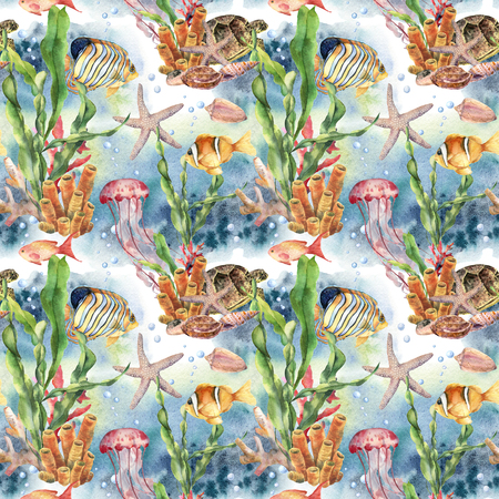 Watercolor seamless pattern with coral reef - laminaria branch and sea animals. Hand painted jellyfish, starfish, tropical fish, air and shell. Nautical illustration for design, print or background.