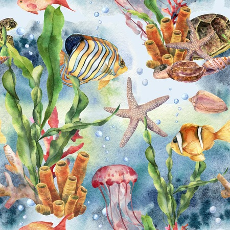 Watercolor seamless pattern with laminaria branch, coral reef and sea animals. Hand painted jellyfish, starfish, tropical fish, air and shell. Nautical illustration for design, print or background.