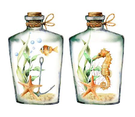 Watercolor nautical card with coral animals, plants and fish into the bottle. Hand painted underwater branches, starfish isolated on white background. Illustration for design, print or background.