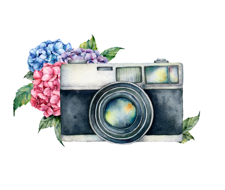 Watercolor card composition with camera and flower bouquet. Hand painted photographer logo with anemone and ranunculus flowers isolated on white background. For design, prints or background.