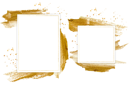Watercolor golden spray template card. Hand painted beautiful illustration for design, print, fabric or background. Reklamní fotografie