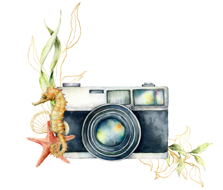 Watercolor card with camera and underwater print. Hand painted photographer logo with seahorse, starfish and algae illustration isolated on white background. For design, prints or background.