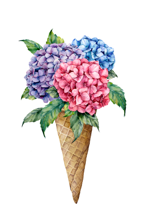Watercolor ice cream with floral bouquet. Hand painted illustration with waffle cone and hydrangea isolated on white background. Food illustration for design, print, fabric, background.