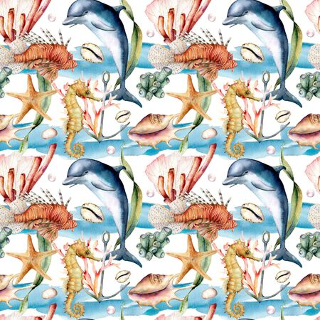 Watercolor seamless pattern with reef animals. Hand painted dolphin, lionfish, seahorse and anchor illustration isolated on white background. Nautical illustration for design, print and background.