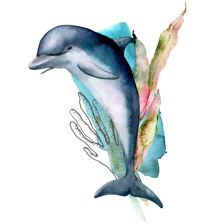 Watercolor dolphin, coral and seaweed composition. Hand painted underwater illustration isolated on white background. Aquatic line art illustration for design, print or background.