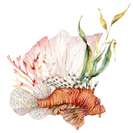 Watercolorv lionfish and seaweed composition. Hand painted underwater illustration with laminaria and coral reef isolated on white background. Aquatic illustration for design, print or background. Stock Photo