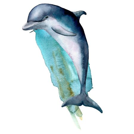 Watercolor dolphin and blue water composition. Hand painted underwater illustration isolated on white background. Aquatic illustration for design, print or background. Archivio Fotografico