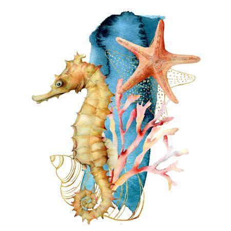Composición acuarela de caballitos de mar, conchas y estrellas de mar. Ilustración submarina pintada a mano con arrecife de coral aislado sobre fondo blanco. Ilustración acuática para diseño, impresión o fondo. Foto de archivo