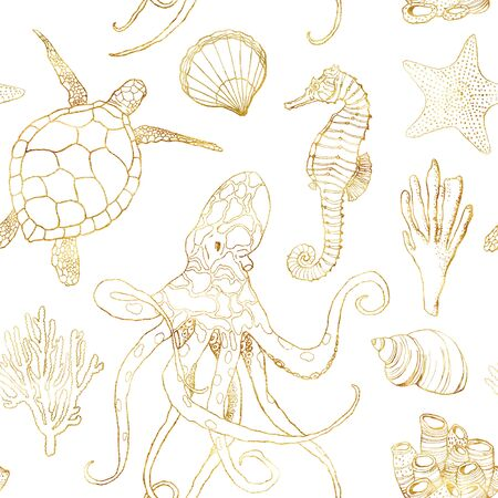 Watercolor underwater seamless pattern. Hand painted golden octopus, turtle, seahorse, laminaria, shell and coral reef plants isolated on white background. Line art illustration for design, print.