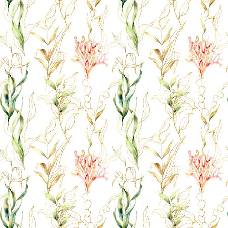 Watercolor seamless pattern with laminaria leaves and corals. Hand painted underwater floral illustration with algae and tropical anemone isolated on white background. For design, fabric, background.