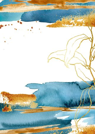 Watercolor blue vertical card with underwater plant. Hand painted floral template with golden laminaria branch and leaves. Marine illustration for design, print, fabric or background. Stock Photo
