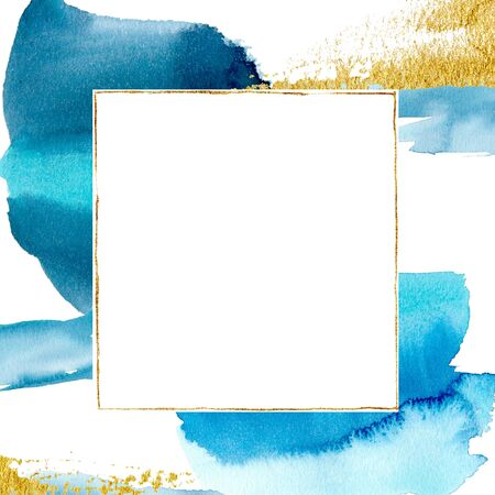 Watercolor template card with blue and gold points. Hand painted beautiful golden border. Abstract illustration for design, print, fabric or background