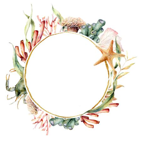 Watercolor circle border with crab and coral reef plants. Hand painted seaweeds and starfish isolated on white background. Nautical template. Illustration for design, print, fabric or background.