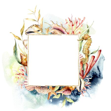Watercolor border with coral reef plants and seahorse. Hand painted seaweeds, shells and starfish isolated on white background. Nautical template. Illustration for design, print or background.