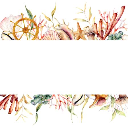 Watercolor border with coral reef plants and ships wheel. Hand painted seaweeds, shells and starfish isolated on white background. Nautical template. Illustration for design, print or background. Stock Photo
