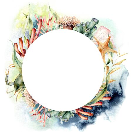 Watercolor circle border with coral reef plants and crab. Hand painted seaweeds and starfish isolated on white background. Nautical template. Illustration for design, print, fabric or background.