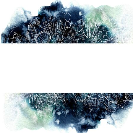 Watercolor border with coral reef plants. Hand painted seaweeds, shells, seahorse, turtle and starfish isolated on white background. Nautical template. Illustration for design, print or background.