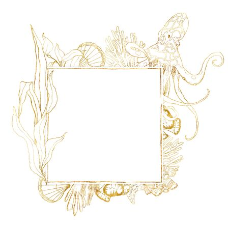 Watercolor underwater frame. Hand painted golden octopus, laminaria, shell and coral reef plants isolated on white background. Line art illustration for design, print. Nautical square template.