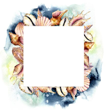 Watercolor frame with shells and dark blue water. Hand painted sea shells square card isolated on white background. Nautical template. Illustration for design, print or background.