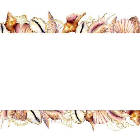 Watercolor banner with shells. Hand painted golden sea shells border isolated on white background. Nautical template. Illustration for design, print or background.